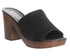 Office Woodstock Wood Mule Black Suede - Sandals