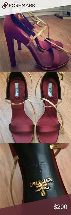 Prada Spring/Summer 15 Sandal Pumps Wine red Prada pumps, worn once, surprisingly comfortable. Prada Shoes Heels