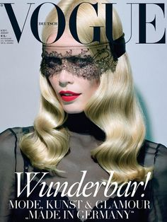 Vogue Germany August 2011  Photographer: Miles Aldridge  Stylist: Christiane Arp  Model: Claudia Schiffer  Why we love it: It's a little dominatrix and a lot elegant – a great recipe for a cover that makes you want to flip through the rest of the mag.