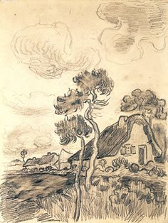 Houses in the Countryside in the Snow, Vincent van Gogh Artist Van Gogh, Van Gogh Art, Paintings Famous, Famous Art, Vincent Van Gogh, Desenhos Van Gogh, Van Gogh Drawings, Van Gogh Landscapes, Drawing Sketches