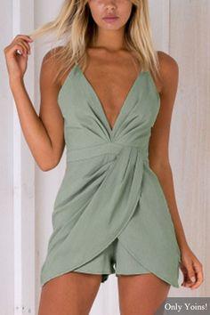 Fashion Deep V-Neck Sleeveless High-waist Playsuit With Shoulder Straps