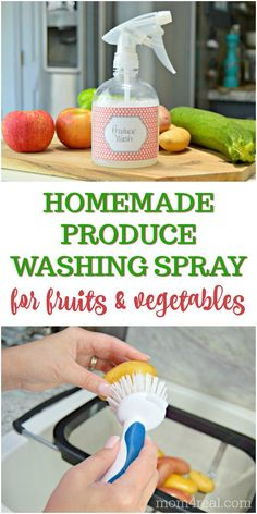 With all of the talk about chemicals and other substances that is on our fruits and vegetables when we purchase them, its a g Cleaning Recipes, House Cleaning Tips, Cleaning Hacks, Green Cleaning, Doterra, Fruits And Vegetables, Veggies, Fruit And Vegetable Wash, Cleaning Wood Floors