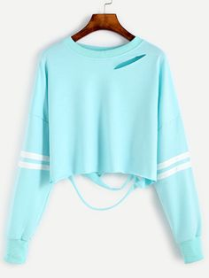 Sleeve Striped Drop Shoulder Cut Out Crop Sweatshirt
