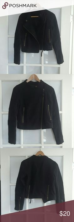 black moto jacket Black croped moto jacket made out of wool poly blend. Size small fits a size 2 or 4. zipper details on front pockets, sleeve cuffs and back vents. Offers and questions welcome Jackets & Coats