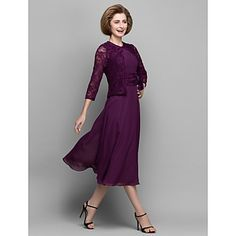 A-line+Mother+of+the+Bride+Dress+Tea-length+3/4+Length+Sleeve+Chiffon+/+Lace+with+Lace+/+Ruching+–+USD+$+89.99