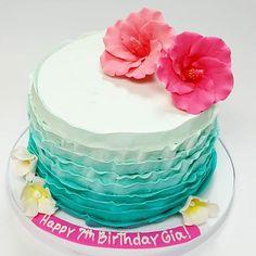Moana birthday cake! #moana #moanaparty #buttercream #somervillenj #birthdaycake #birthday #ruffles #njbakery #njbaker #customcakesnj