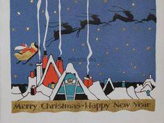 1240 20s Buzza Art Deco Santa Sleigh Reindeer Vintage Christmas Card Greeting | eBay