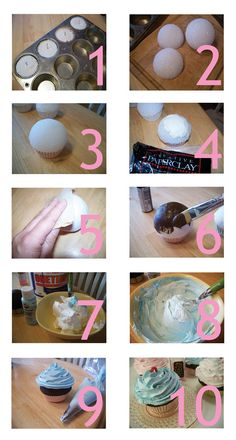 Frosting: about 1 1/2 cups of spackling in a bowl and add acrylic paint to make it the desired color. Stir Place spackling in a disposable pastry bag and pipe on cupcake as desired (I used a # 1M tip and spiraled the icing on starting on the outside and working my way in). WASH BOWL, SPOON, DECORATING TIP, ETC. IMMEDIATELY!! Adorn cupcake as desired and allow to dry