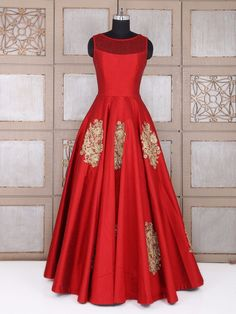 Attractive Red Wedding Silk Gown, Indian designer gown