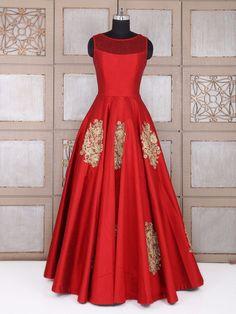 Attractive Red Wedding Silk Gown, Indian designer gown