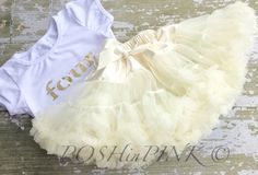 Four year old birthday outfit! Ivory chiffon pettiskirt petti skirt, Birthday, gold lettering, baby, chiffon girls skirt, toddler, outfit by POSHinPINKKIDS on Etsy
