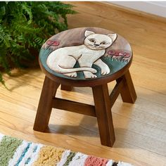 Hand-Carved Cat Stool made of Sustainable Acacia Wood