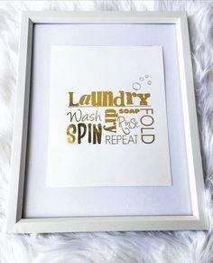Laundry gold foil print rose gold foil print laundry room