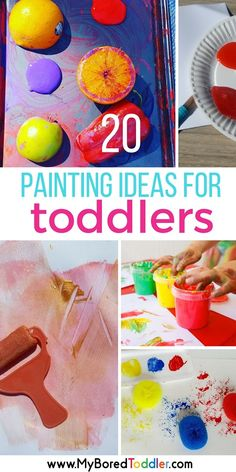 20 painting ideas for toddlers. toddler painting activities and ideas for your one year old, two year old or three year old. Easy painting ideas, finger painting, messy play , #toddlerpainting #toddleractivity #toddlerfun
