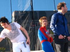 Spider-Man outfit. (he wore this for the concert) >;] <3