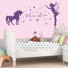 Livingstyle & Wanddesign Wall Tattoo Wall Sticker Nursery Room with names unicorn Elf - Violet, 80 cm breit x 49 cm hoch Deco Stickers, Kids Room Wall Stickers, Nursery Wall Decals, Unicorn Rooms, Unicorn Bedroom, Fairy Bedroom, Girls Bedroom, Unicorn Wall Decal, Unicorn And Fairies