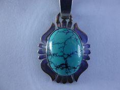 Vintage Native American Turquoise Pendant Signed by BathoryZ, $119.00