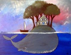 If I could I would buy this one right now, love it! Kids Wall Art Original Acrylic Whale Painting by andralynn on Etsy
