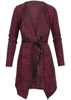Styleboom Fashion Damen Long Cardigan Pipings Bindeband bordeaux melange - 77onlineshop
