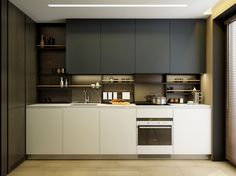 modern kitchen with shelves instead of backsplash