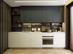 modern kitchen with shelves instead of backsplash