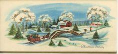 VINTAGE CHRISTMAS VILLAGE BARN HORSE SLEIGH RIDE SNOW 1 LABRADOR DOG SKI CARD | eBay Christmas Horses, Christmas Town, Victorian Christmas, Vintage Christmas, Ski Card, Cow Cat, Pine Cone Art, Victorian Village, Dog Tree