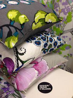 Vallila cushions: Silkkisuukko, Persikka and Amanda Finland Cushions, Pillows, Soft Furnishings, Floral Design, Decorating, Finland, Showroom, Amanda, Artwork