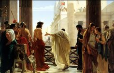 Antonio Ciseri's depiction of Pontius Pilate presenting a scourged Christ to the people Ecce homo! (Behold the man! Swiss-Italian painter Date of birth/death 25 October 8 March Location of birth/death Ronco sopra Ascona Florence Anthony Van Dyck, Fra Angelico, Most Famous Paintings, Famous Artists, Art Paintings, Caravaggio, Lucas 17, Pontius Pilate, Holy Week