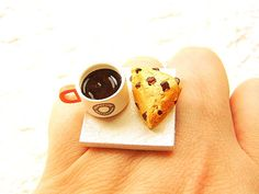 Coffee  Ring Kawaii Food Chocolate Chip Scone by SouZouCreations, $12.50