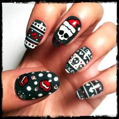 Don't you just love getting wrapped up in holiday sweater themed nail art this time of year?! Nailed it like a coffin with this Monster High look.