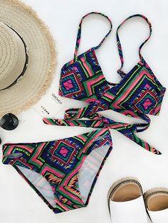 $23.99 Chicnico Boho Floral Geometry Strappy Cross Vintage Bikini Set