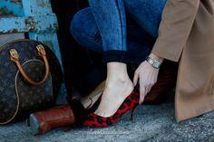 Fashion essentials, LV monogram bag, leopard print shoes, jeans and camel coat