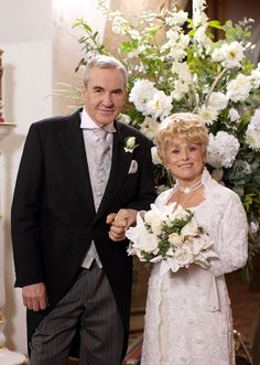 eastenders Peggy (Butcher) marries her brother-in-law Archie Mitchell Eastenders Cast, Barbara Windsor, Tv Soap, Watch Tv Shows, Soap Stars, Larry Lamb, Archie, Bbc, Soaps