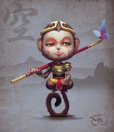 SUGA佳对此图片选择了版权保护,您无法查看原图。 Monkey Art, Monkey King, Rey Mono, King Tattoos, Monkey Tattoos, Chinese Painting, Chinese Art, Japan Tattoo, Character Art