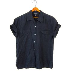 80s HALSTON Black LINEN Blouse Blend Button Up Short Sleeve Basic... ($36) ❤ liked on Polyvore featuring tops, blouses, cotton button down shirts, short sleeve button up shirts, black shirt, button up shirts and vintage 80s t shirt