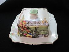 Royal Winton Grimwades England Butter Dish with Lid Flowers Church | eBay