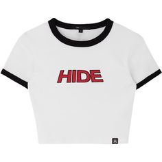 HIDE Contrast Trim Crop Top ❤ liked on Polyvore featuring tops, cropped tops, short sleeve tops, bunny top, short sleeve crop top and cut-out crop tops