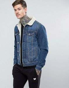 Good For Nothing Muscle Denim Jacket In Blue With Fleece Lining - Blue