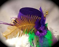 Purple Mardi Gras Top Hat  OOAK by Marcellefinery on Etsy, $48.00