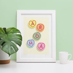 A kiwi spin on sweet heart lollies Framed Art, Framed Prints, Frames On Wall, Make You Smile, Art Decor, Fine Art Prints, Make It Yourself, Create, Walls