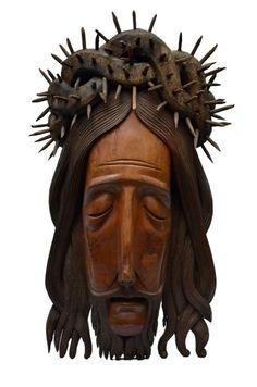 Otávio, Grande cabeça de Cristo (jacarandá), 70x35cm