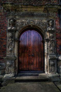 Dark wood door with carved stone surround--ARIA