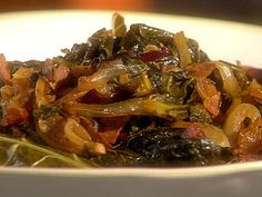 Spicy Braised Greens recipe from The Essence of Emeril via Food Network