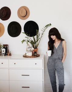 Christina from New Darlings starts her morning with coffee and our Wrap Front Knit Jumpsuit. #Aerie