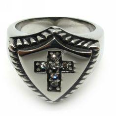 Mens Cavaleiro Escudo Spartak Crystal White Anéis de aço inox 316L Cruz jóia anel gótico Biker Punk em Anéis de Jóias no AliExpress.com | Alibaba Group
