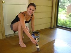This is a surprisingly easy task, so anyone with a garage, sunroom, basement or porch with a concrete floor should seriously consider this super simple process. Can use Behr Semi-Transparent Concrete Stain in Tuscan Gold from Home Depot to give unfinished looking concrete floors a warm wash of honey-gold color.