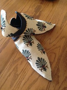 """Persian Slippers constructed with my """"How to""""construction @ www.academia.edu under my name as the PDF author, for Her Excellency Isolte, 6-3-14."""