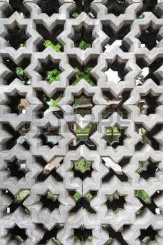 cement block with ventilation holes Stock Photo