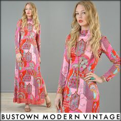 Anne Fogarty Vtg 70s Psychedelic India Graphic Mod Ethnic Tapestry Maxi Dress