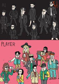 평일과 주말  Weekdays and weekends    #사람 #사회 #일 #출근 #출퇴근 #개성 #korea #illustration